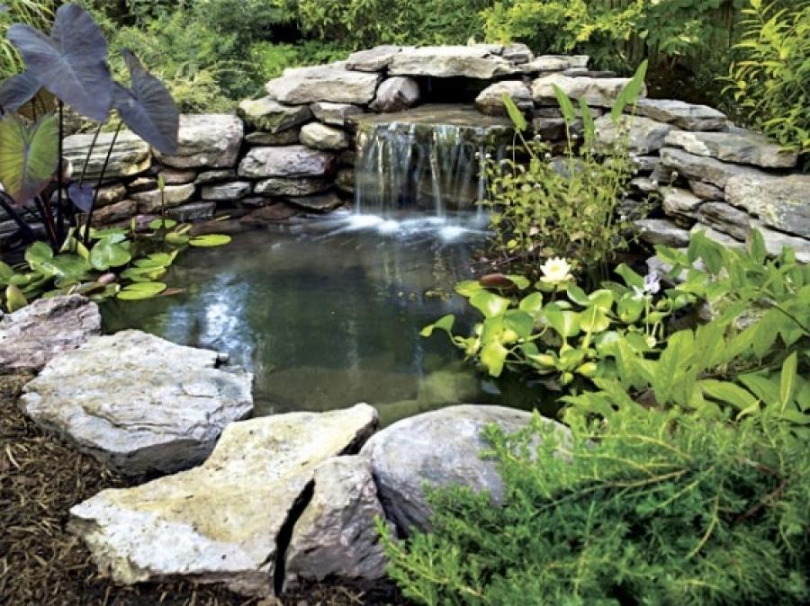 Декоративный пруд с водопадом